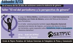 """Dictarán en Paraná taller sobre """"El rol del periodismo y la perspectiva de género"""""""