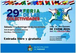 Este fin de semana se realizará la Feria de las Colectividades en Paraná